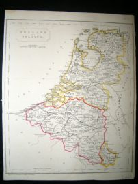 Becker C1840 Antique Map. Holland & Belgium